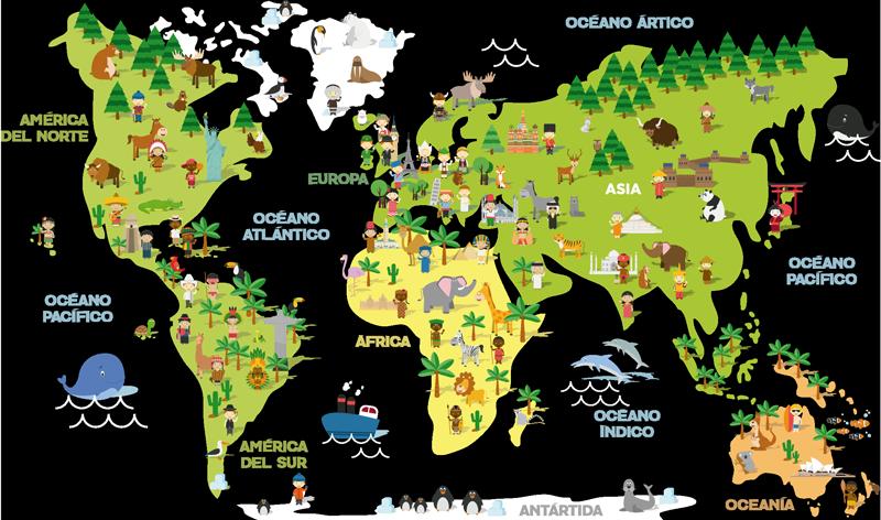 TenVinilo. Vinilo habitación infantil Mapamundi niños de paises. Vinilo adhesivo infantil formado por el mapa del mundo acompañado de varios elementos cómo animales o plantas. Vinilos Personalizados a medida.