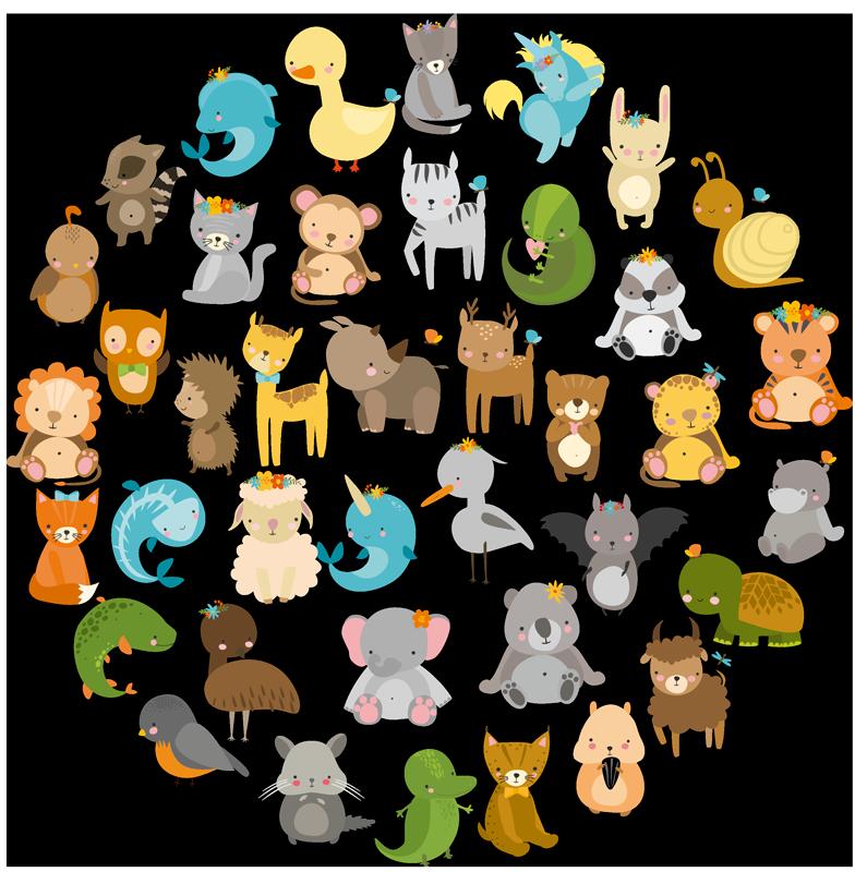 TenStickers. Naklejka na ścianę dla dzieci różne zwierzęta. Zestaw naklejek na ścianę z rozmaitymi zwierzętami w bajkowym charakterze! Idealna dekoracja do pokoju dziecięcego dla każdego małego fana zwierząt!
