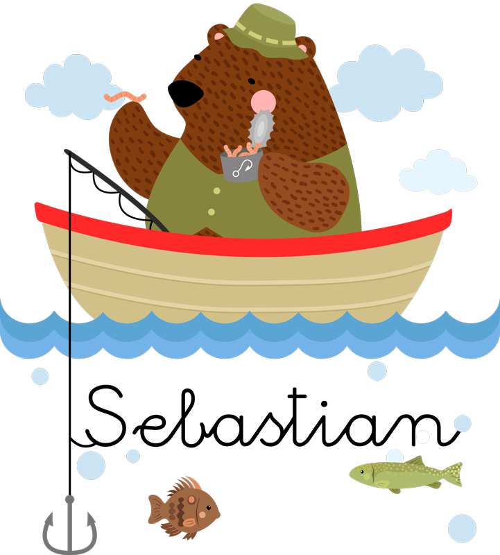 TenStickers. Fishing Bear Personalised Sticker. Give your children's room a more personal touch with this extremely cute personalised fishing bear wall sticker. Free delivery available!
