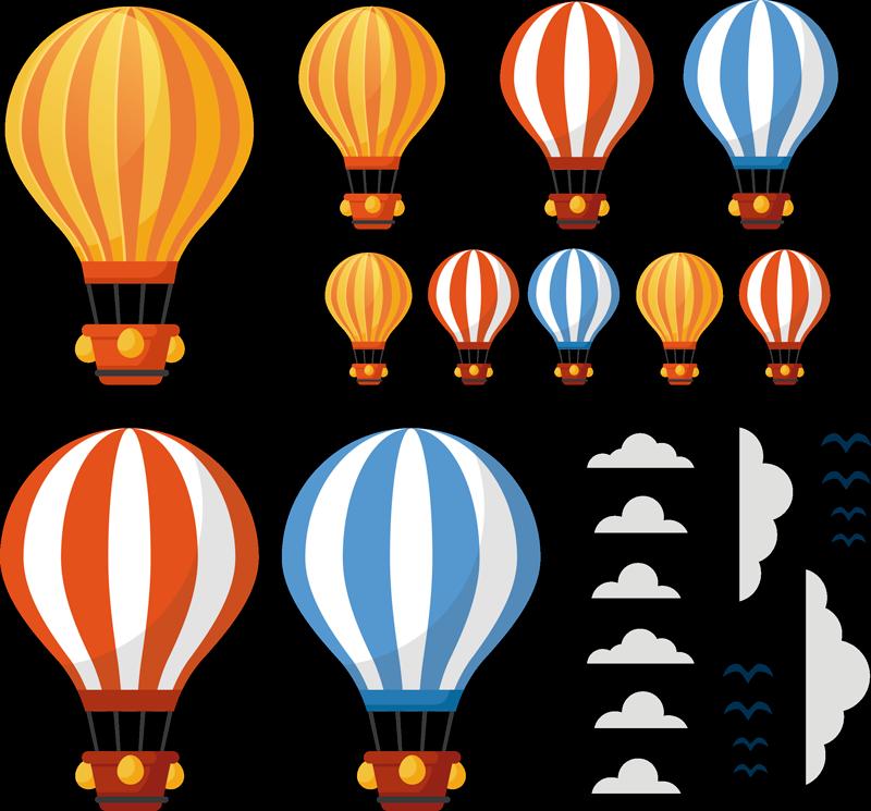 TenStickers. Kunstflug Ballons Illustration Aufkleber. Kunstflug Heißluftballons Wandaufkleber, um die Wände des Kinderzimmers zu schmücken. Erhältlich in jeder gewünschten Größe und einfach anzuwenden.