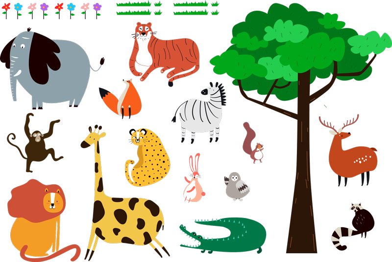 TenStickers. Wild Animals Bedroom Sticker. Decorate your baby´s bedroom with this charming wall decal depicting a selection of wild animals in the jungle! Choose your size.