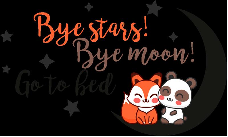 TenVinilo. Vinilo frase bye stars bye moon. Vinilo para decorar una habitación infantil con un dibujo divertido y un texto que hará más fácil que tus hijos se duerman puntualmente.