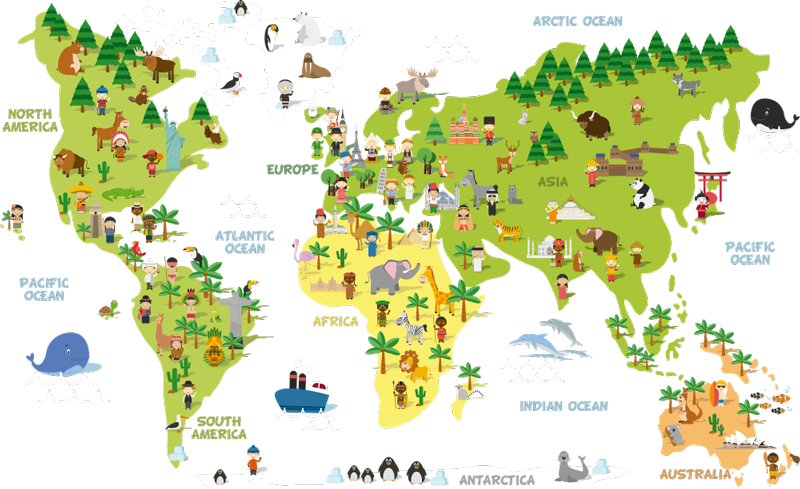 TenStickers. Stereotypes World Map Wall Sticker. Decorate any part of your home with this fantastic home world map sticker, depicting humorous stereotypes for each country! Sign up for 10% off.
