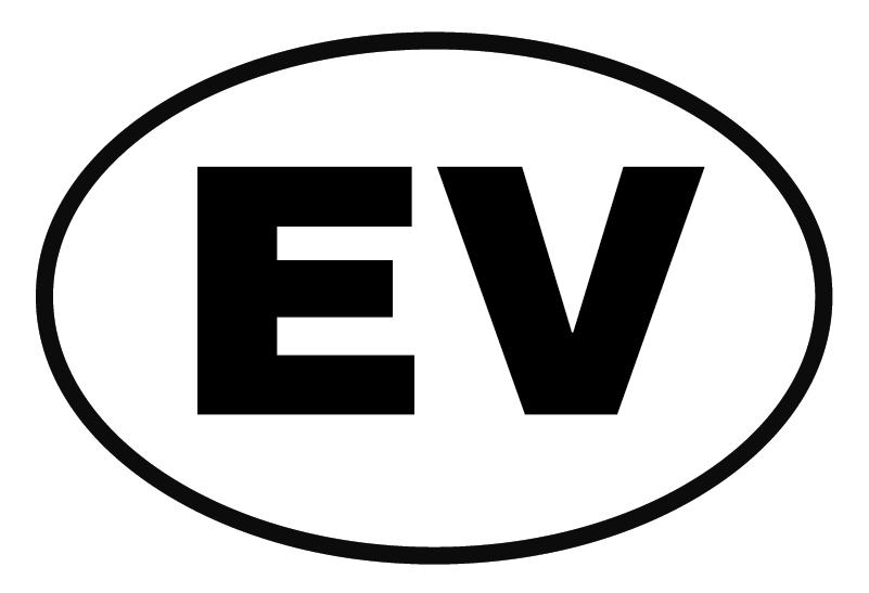"""TenVinilo. Vinilo para coche de vehículo eléctrico. Pegatina para coche o automóvil con el símbolo """"EV"""" para señalizar que tu coche es eléctrico. Elige las medidas que necesitas ¡Envío a domicilio!"""