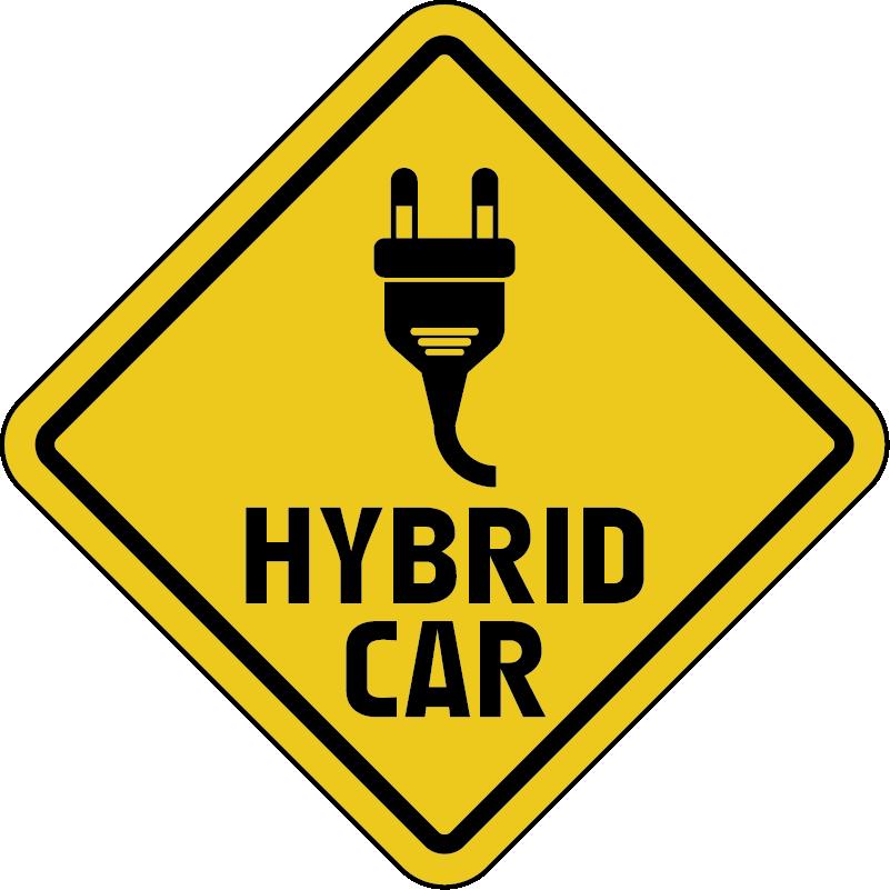 """TenVinilo. Vinilo para coche híbrido con enchufe. Vinilo adhesivo para coche híbrido con la señalización de un enchufe y la frase """"coche híbrido"""" para ponerlo en el tuyo ¡Envío a domicilio!"""