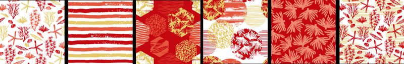 TenStickers. Sticker Carrelage Motifs Coraux. Pour vos pièces avec carrelage cette frise autocollante représentant plusieurs motifs de coraux ou de coquillages sera idéale
