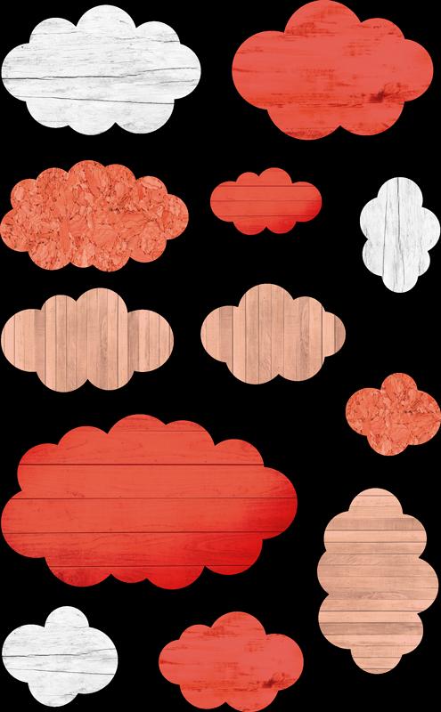 TenVinilo. Pack 12 vinilos nubes con textura living coral. Original y colorido patrón adhesivo formado por 12 nubes simulando textura madera, en diferentes tamaños y colores. Promociones Exclusivas vía e-mail.