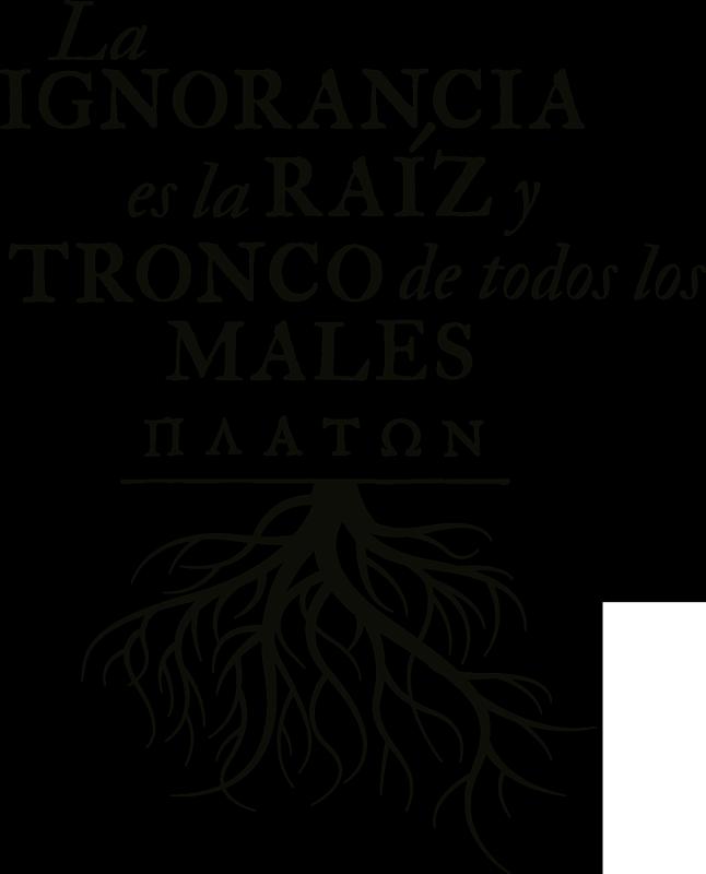 """TenVinilo. Vinilo decorativo frase filosófica Maaton con árbol. Vinilo de frase motivadora que cita """"la ignorancia es la raíz y tronco de todos los males"""" de Maaton para llenar tu casa de sabiduría ¡Envío gratis!"""