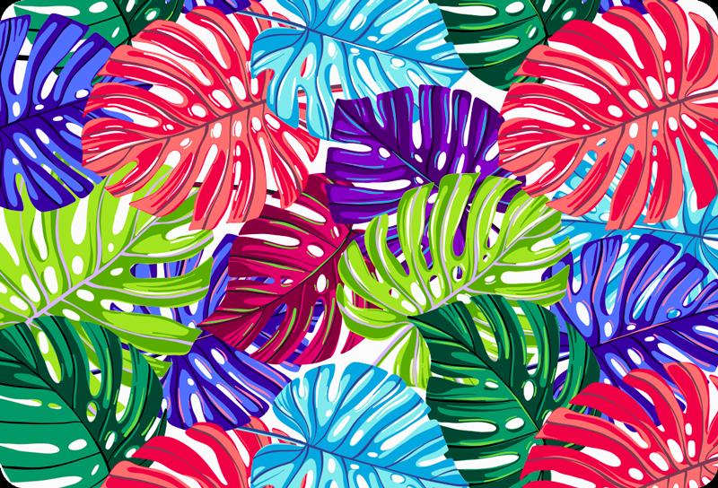 TenVinilo. Vinilo para notebook hojas tropicales coloridas. ¡Decora tu  portátil con algunas hojas tropicales, gracias a este vinilo para laptop absolutamente impresionante! Envío a domicilio