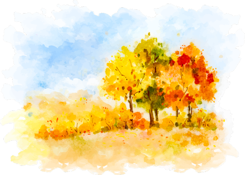 TenStickers. Autumnal Painting Wall Art Sticker. Show your love for Autumn with this fantastic wall art sticker, depicting a stunning Autumn scene in the style of a painting!