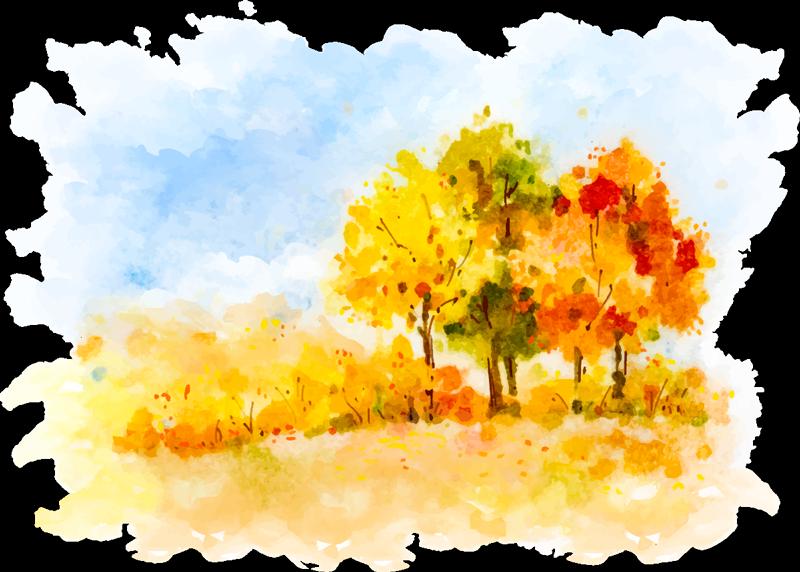 TENSTICKERS. 秋の絵画の壁アートステッカー. 絵のスタイルで見事な秋のシーンを描いたこの素晴らしい壁アートステッカーで、秋への愛を示しましょう!