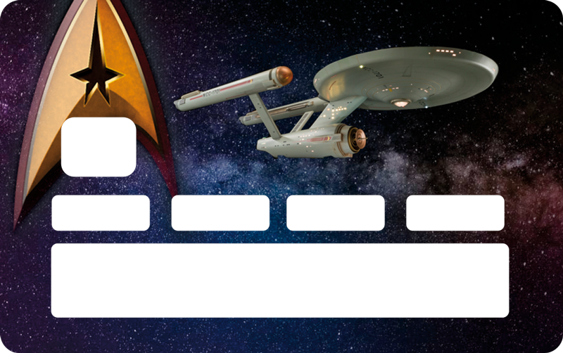 TenStickers. Star Trek Credit Card Sticker. Pay tribute to Star Trek with this fantastic credit card sticker, depicting one of the ships in full flight! Choose your size.