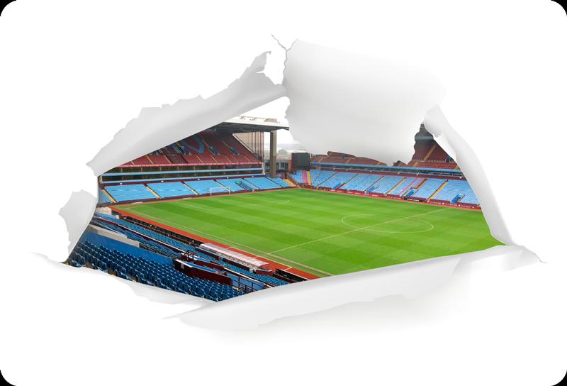 TenStickers. 빌라 파크 노트북 스티커. 빌라 파크 인 영광스럽고 역사적인 경기장을 묘사 한 절대적으로 멋진 축구 테마 노트북 스티커! 적용하기 쉽습니다.