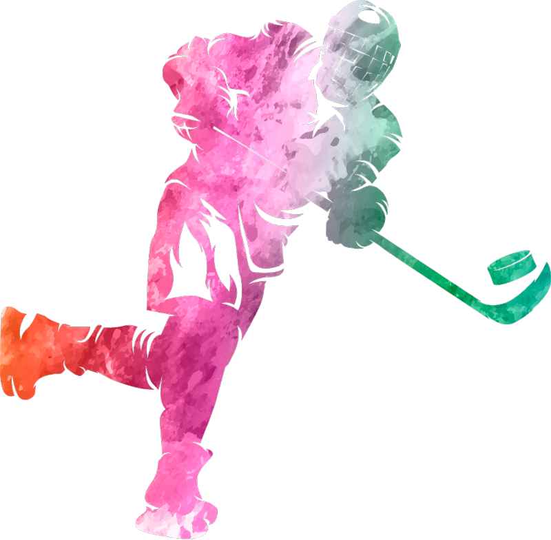 TenStickers. Watercolour Hockey Player Home Wall Sticker. Decorate your bedroom - or any part of your home - with this fantastic watercolour wall sticker, depicting a hockey player! Anti-bubble vinyl.