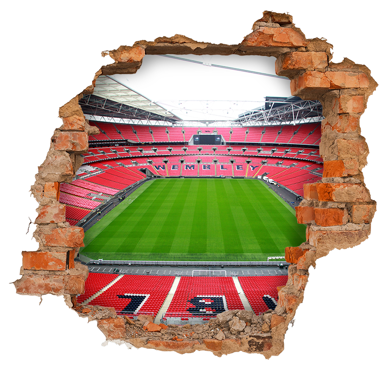 TenStickers. Wembley Stadium 3D Wall Mural sticker. Pay tribute to Wembley Stadium with this fantastic 3D visual effects sticker, making it look as though Wembley is right outside! Choose your size.