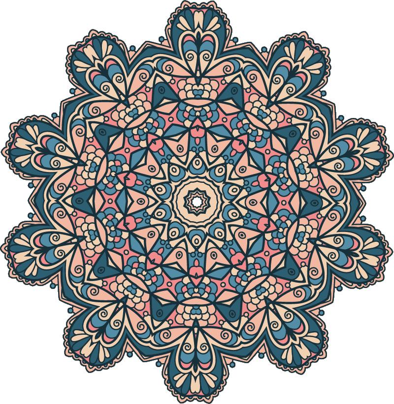 TenStickers. Adesivo murale camera da letto mandala colorato vintage. Se ti piace l'arte orientale e vuoi decorare il muro di una stanza, allora questo adesivo murale arte è perfetto per te con un mandala colorato.