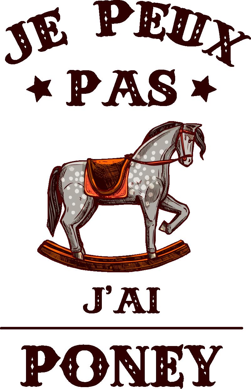 """TenStickers. Sticker Animal de la Ferme Je peux pas j'ai poney. Parce que les vieilles plaisanteries sont toujours les meilleures, cet autocollant mural de texte """"je peux pas j'ai poney"""" a été désigné pour vous !"""