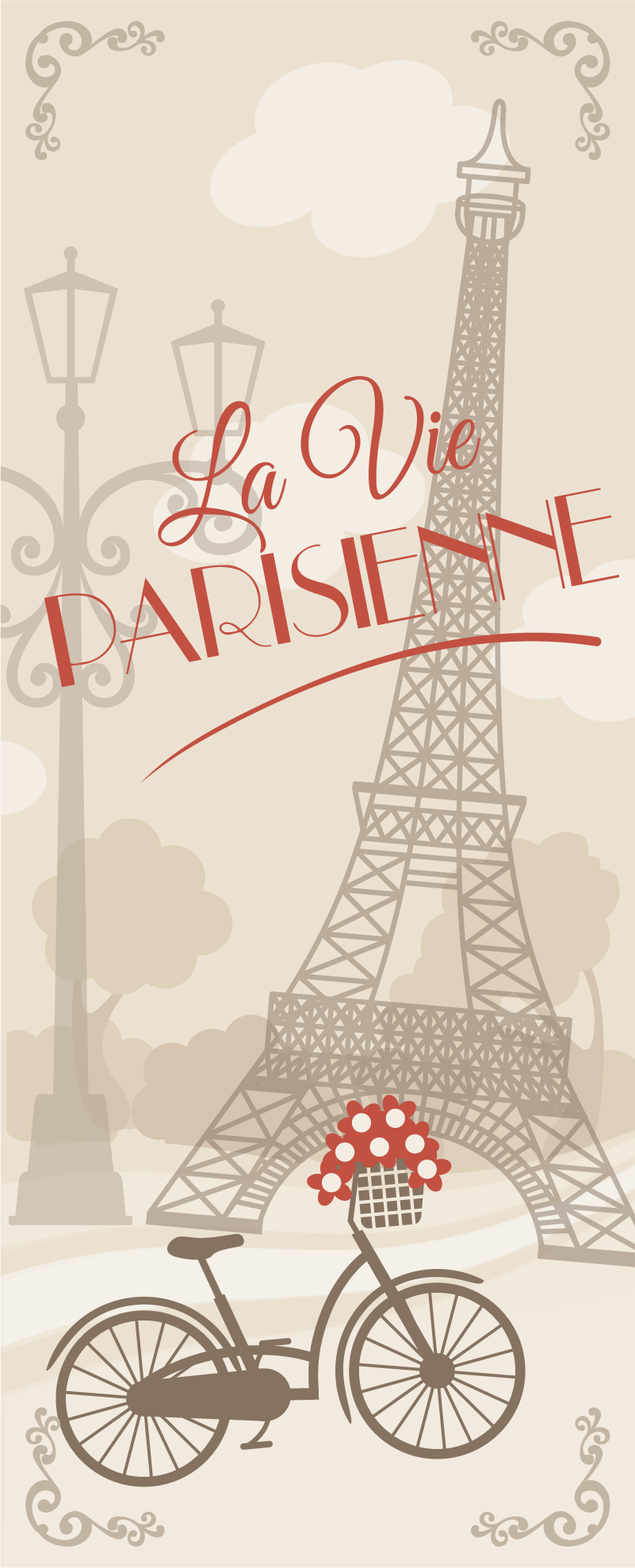 TenStickers. La Vie Parisiene Furniture Sticker. Show your love for the Parisien life with this fantastic fridge sticker, depicting some French words and the Eiffel Tower!