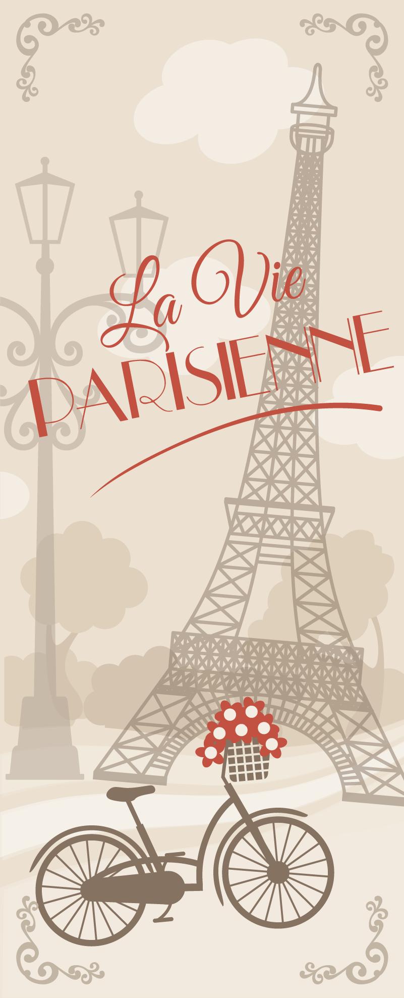 TenStickers. Paris kühlschrank Wandtattoo. Ein großer wandaufkleber paris, ein perfekter gedächtnisaufkleber. Paris-aufkleber sind einzigartige frankreich-aufkleber und frankreich-wandaufkleber für das wohnzimmer!