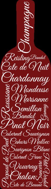 TenStickers. Sticker Salle a Manger Bouteille de vin et texte. La bouteille de vin accompagnée des noms de différents alcools sur ce adhésif boisson constitue un design sympa pour tous les amateurs de spiritueux!