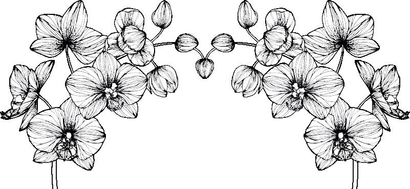 TenStickers. 침실을위한 현대 꽃 벽 스티커. 침실에 아름 다운 현대 꽃 벽 스티커. 벽 스티커 꽃은 현대적이고 어떤 적당한 크기의 흰 꽃 벽 스티커입니다!