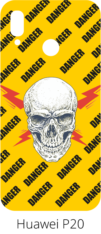 TenVinilo. Pegatina para Huawei danger. Stickers para Huawei con el dibujo de una señal de advertencia de alta tensión y el dibujo de una calavera, ideal para los más jóvenes de casa.