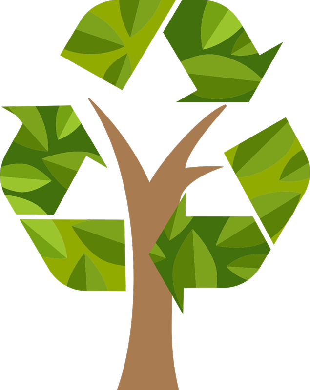 TenStickers. recycling tree stikcer. Decorative  tree wall sticker designed in recycling symbol style with arrow signs. Easy to apply and available in any required size.