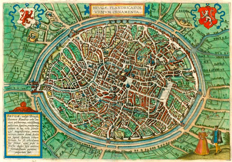 TenStickers. Sticker Mural Carte de Bruges. Vous aimez la ville de Bruges et son histoire riche ? Vous allez adorer ce sticker mural maison représentant une carte vintage de la ville !