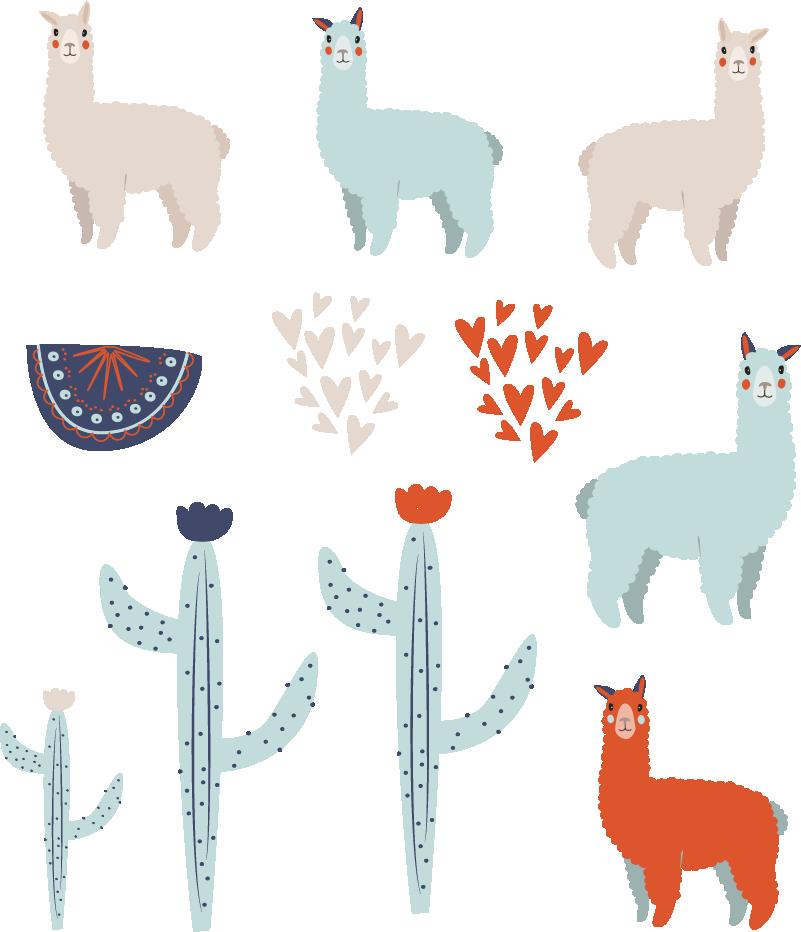 TenStickers. 라마 동물 벽 데칼 세트. 라마와 선인장 식물의 세트와 장식 어린이 침실 벽 스티커. 적용하기 쉽고 필요한 크기로 제공됩니다.