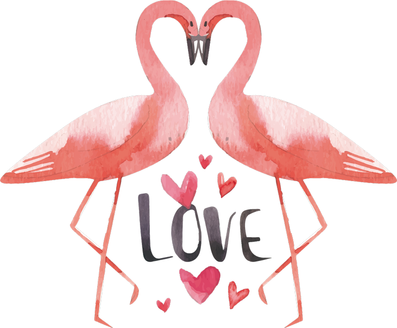 """TenVinilo. Vinilo decorativo de amor flamencos forma corazón. Vinilo de amor con dos flamencos juntos formando un corazón, la frase """"amor"""" y corazones perfecto para tu habitación ¡Envío gratuito!"""