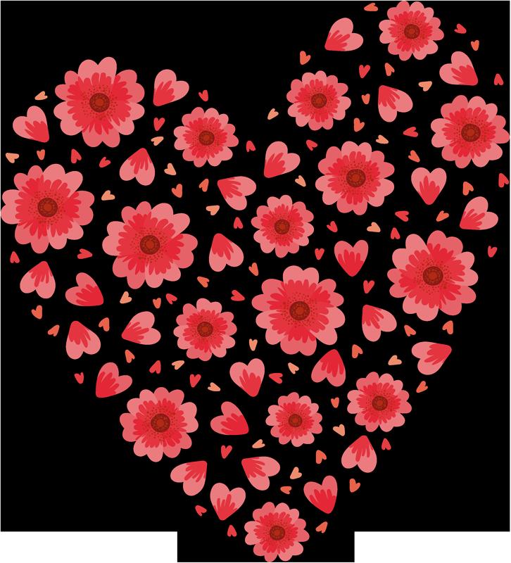 TENSTICKERS. 春のハートラブウォールデカール. ハートの形を作るために色とりどりの花のプリントで作られた春のウォールステッカー。任意のサイズで利用でき、簡単に適用できます。