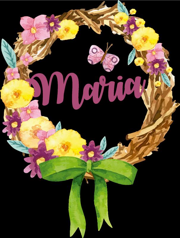 TenStickers. Autocolantes personalizáveis coroa primavera nome. Autocolantes decorativos de flores e plantas ideal para decorar os quartos dos mais novos lá de casa. Material resistente.