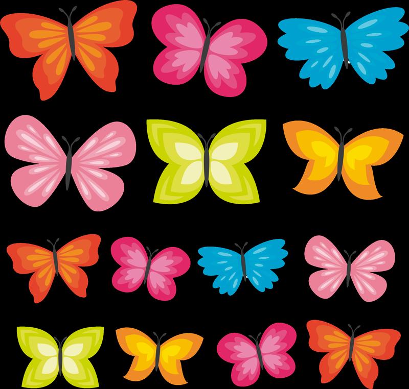 TenStickers. Autocolante decorativo com borboletas Borboletas da primavera. autocolante multicolorido de borboletas da primavera para decorar o quarto das crianças. é autoadesivo, fácil de aplicar e está disponível em qualquer tamanho.