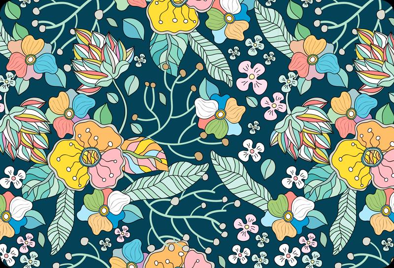 TenStickers. Vinil decorativo para PC primavera. Autocolante decorativo para pc com padrão flores coloridas da primavera. Fácil de aplicar, autoadesivo e disponível em qualquer tamanho necessário.