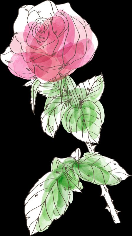 TenVinilo. Vinilo decorativo flor de rosa color acuarela. Vinilo pared de flor bonita de rosa en color acuarela para decorar tu casa de forma original y fácil. Elige las medidas ¡Envío a domicilio!