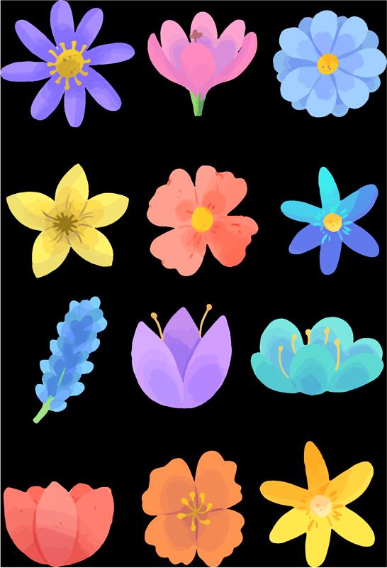 TenStickers. Sticker Maison Fleurs Printanières. À l'arrivée du printemps, quoi de mieux pour décorer vos murs que ce magnifique sticker mural de fleurs colorées, idéal pour chambre d'enfant ou d'ado