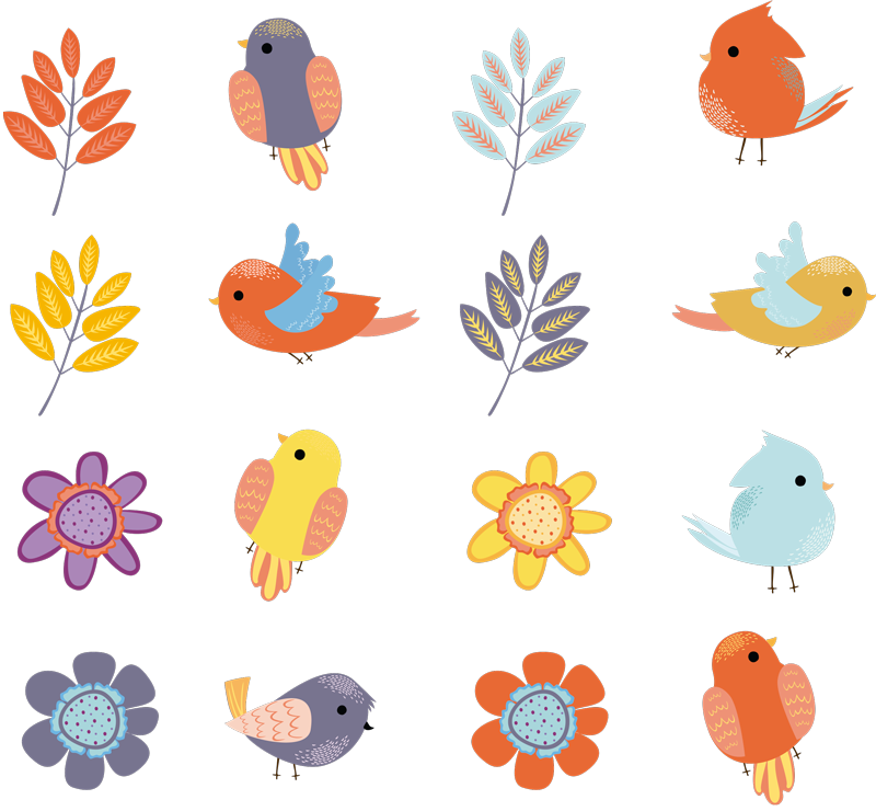 TenStickers. spring birds set bird decal. Decorative spring bird and flower wall sticker for children bedroom space. Useful for preschool, home school and play space decoration. Easy to apply.