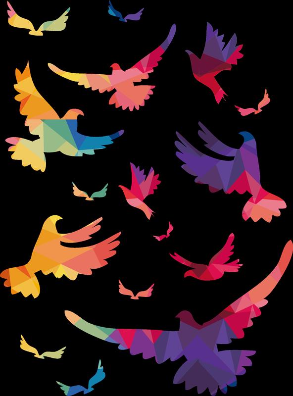 TenVinilo. Vinilo adhesivo de pájaros multicolor volando. Vinilo pájaros coloridos volando con todos los colores de la primavera para colocarlos como desees a tu casa y llevar color ¡Envío a domicilio!