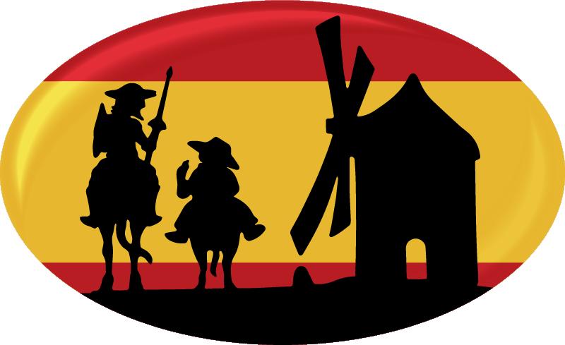 TenVinilo. Pegatina bandera España molinos la Mancha. Pegatina para coche o automóvil de la bandera de España de Don Quijote con los personajes y los molinos de la Mancha ¡Envío a domicilio!