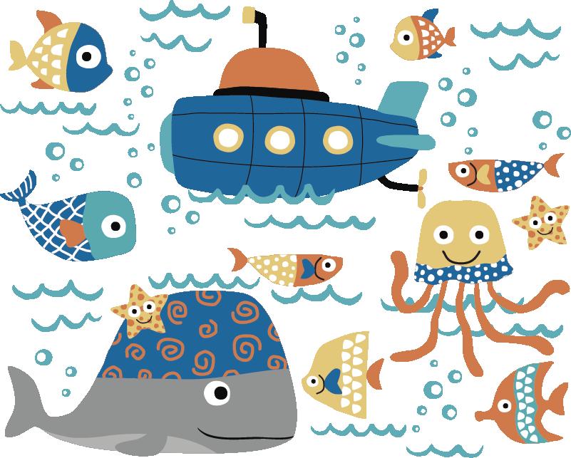 TenStickers. Mořské motivy rybí zeď nálepka. Dekorativní motiv rybí zeď nálepka s různými podvodní mořských živočichů a lodí. Krásný nápad pro dětskou ložnici. Snadné použití.