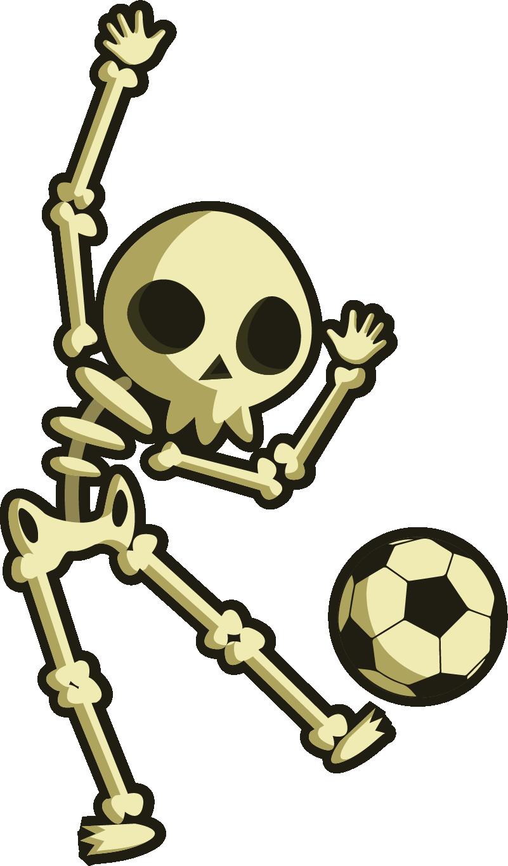 TenStickers. Sticker Chambre Enfant Dessin Squelette jouant au foot. Cet autocollant de sport représente un petit squelette en train de jouer au football avec entrain. Un sticker monstre idéal pour une chambre d'enfant