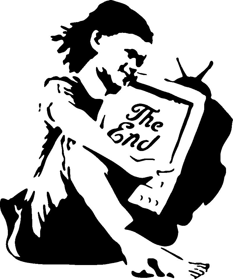 TenVinilo. Vinilo decorativo Bansky de niña con TV. Vinilo de Bansky con pintura artística con niña sosteniendo una televisión perfecto para decorar tu casa de forma original ¡Envío a domicilio!