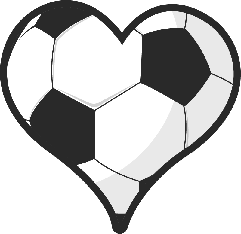 TenVinilo. Vinilo decorativo de fútbol pelota con forma corazón. Vinilo de fútbol para paredes con un balón formado por un corazón que mostrará tu amor y pasión por este magnífico deporte ¡Envío a domicilio!