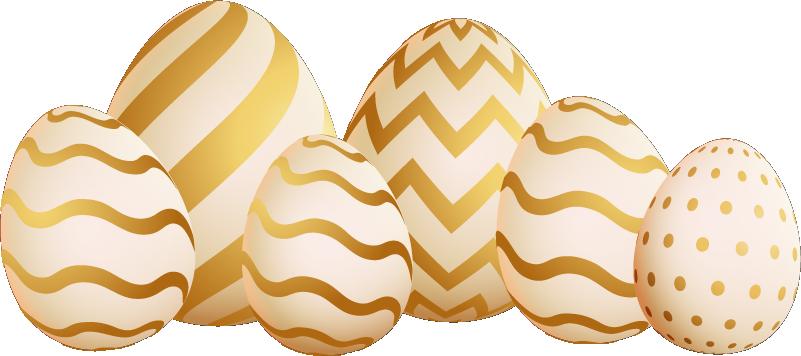 TenStickers. Feestdagen stickers gouden paaseitjes. Stijlvolle gouden paaseitjes muursticker en vrolijk pasen muursticker: Mooie muursticker paaseitjes, pasen raamsticker en vrolijk pasen raamsticker!