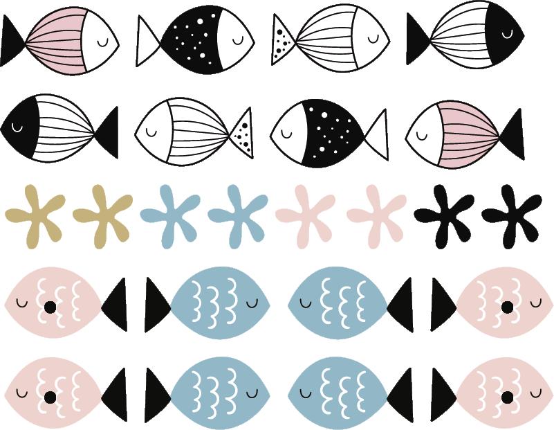 TenStickers. Sticker Chambre Enfant Poissons Mignons. Pour la chambre de votre enfant, ce sticker mural de petits poissons colorés apportera une atmosphère de douceur et de sérénité