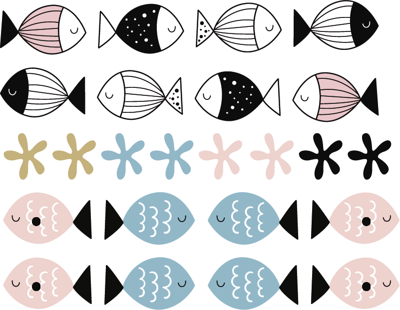 TenStickers. 텍스처 물고기 벽 데칼과 물고기. 물고기와 스타 물고기의 디자인과 해양 테마 벽 스티커. 적용하기 쉽고 다양한 크기로 제공됩니다. 내구성이 뛰어납니다.