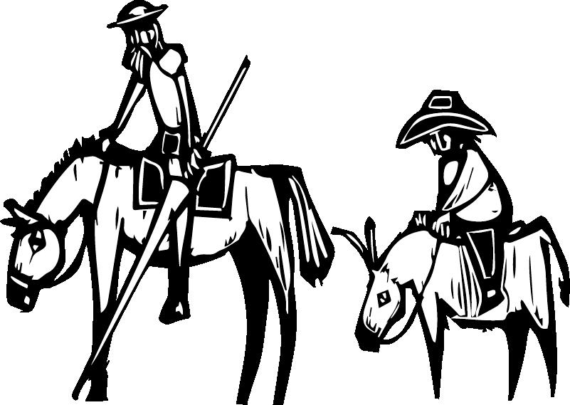 TenVinilo. Vinilo para coche Don Quijote y Sancho. Pegatinas coche con los personajes de Don Quijote y Sancho en caballo para que llenes tu coche de cultura y todos lo admiren ¡Envío a domicilio!