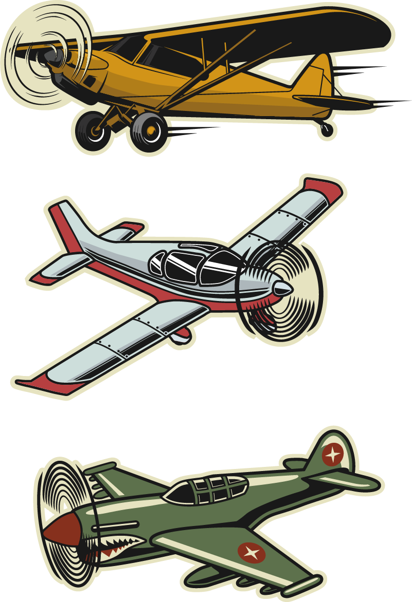 TenStickers. vintage aircraft set object wall decal. An original object wall sticker design of set of  vintage air craft design. Ideal for teens and kids. Easy to apply and available in different sizes.