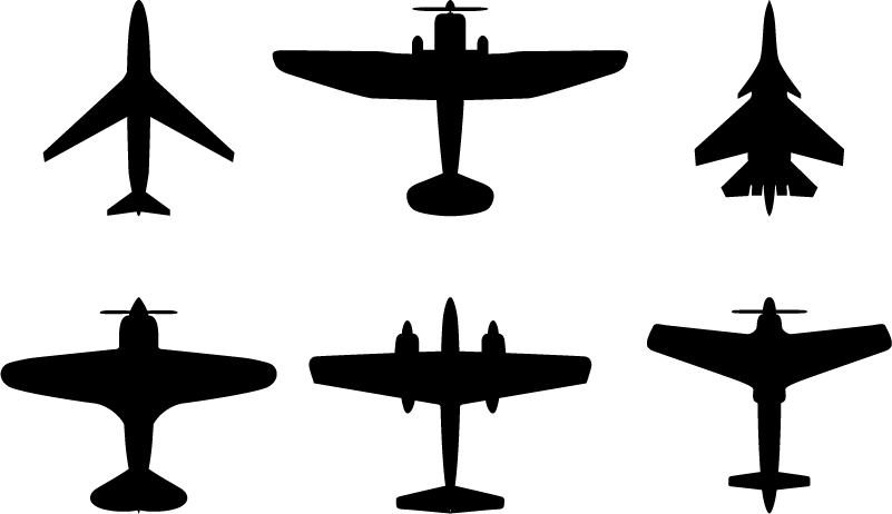 TenStickers. Airplane Silhouette object wall stickers. Make any  Aviation fan's day with this awesome collection of silhouetted airplane bull decals. Choose from a variety of over 50 colours!