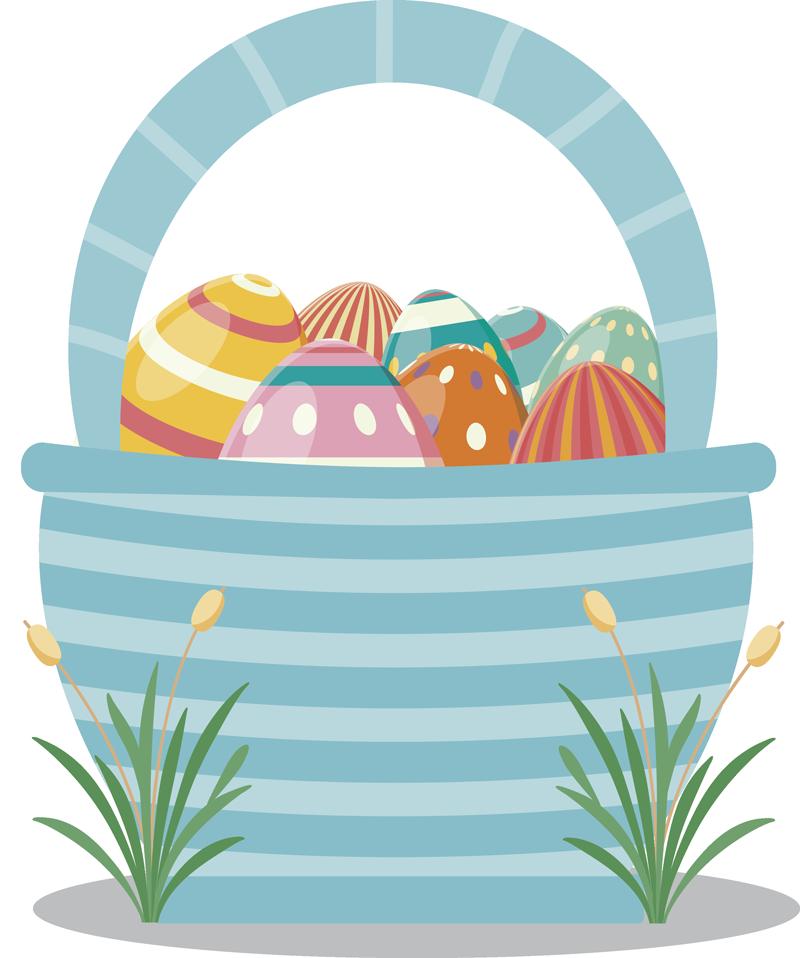 TenStickers. Sticker Maison Panier Oeufs de Pâques. Idéal pour la chambre de votre enfant, ce sticker déco chambre d'enfant représente le dessin d'un panier contenant des oeufs de Pâques colorés